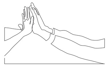 continuous line drawing of people team hands giving high five