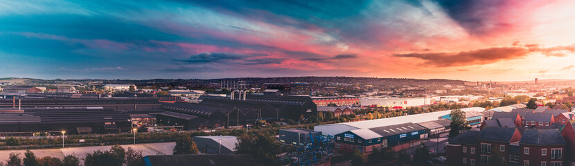 A panoramic view of a sunset over Sheffield, UK