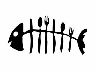 Fish skeleton made of cutlery - Illustration,  Fish bone icon on white background,  Fish skeleton line icon