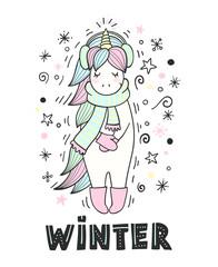 Magic unicorn with winter accessories. Winter lettering.