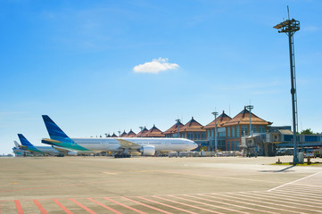 Bali airport with many airplanes