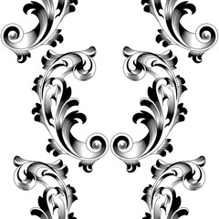 Black seamless floral pattern, ornament, backround. Vector.