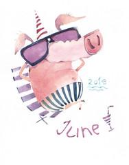 Beautiful swine rest