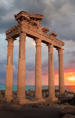 Ruins of Apollo temple with rainbow - Side, Antalya