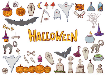 Set of color hand drawn doodle cartoon elements of Halloween celebration.