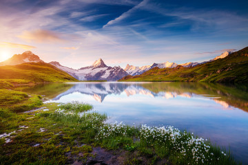 Great view of Mt. Schreckhorn and Wetterhorn above Bachalpsee lake. Location place Swiss alps, Grindelwald valley