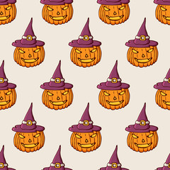 Halloween pumpkins in the hat color seamless pattern.