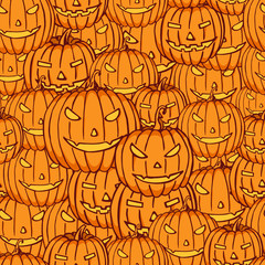 Halloween pumpkins color seamless pattern.