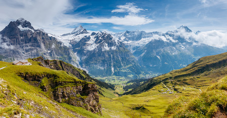 Great view of alpine hill. Location place Swiss alps, Grindelwald valley. Wall mural