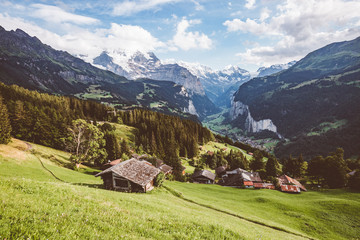 Fototapete - Scenic surroundings near the resort Wengen. Location place Swiss alp, Lauterbrunnen valley.