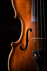 Close-up of a Violin, Isolated on Black