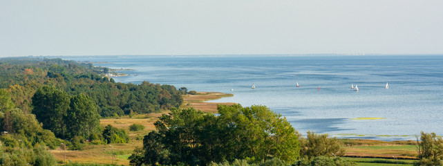 Puck Bay, view from the top of the tower in Wladyslawowo. Poland