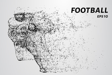 American football made up of particles.
