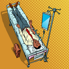 Dependency on gadgets concept. African man under medical dropper