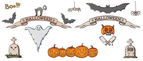 Set of color hand drawn doodle cartoon elements of Halloween celebration.