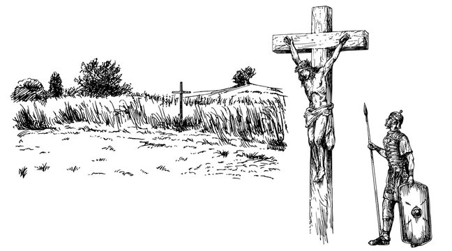 Jesus Christ crucified. Hand drawn set.