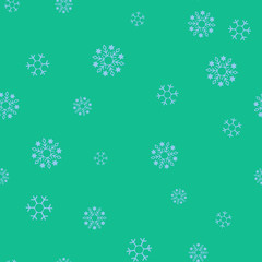 Blue snowflakes on a green background seamless pattern