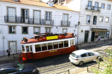 Tramway à Lisbonne Portugal
