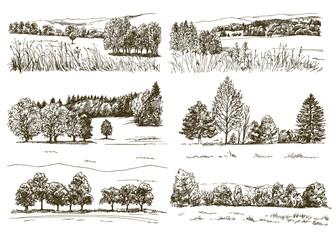 Set of romantic landscapes.