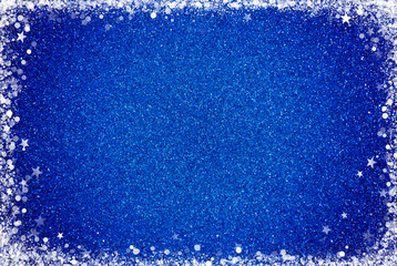 Blue Glitter Background with a White Border