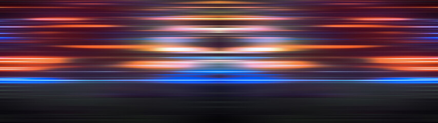 Glowing light stripes in motion over dark ultra wide background. Luminous blurred lines moving fast. Flaring bright streaks. Abstract composition. 3d rendering Fotomurales