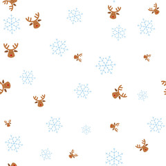 Christmas deer and snowflake seamless pattern