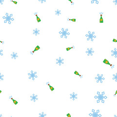 Bottles of champagne and snowflake seamless pattern