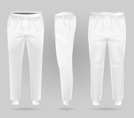 White sports trousers. Sports sweatpants design template. sportswear and urban pants