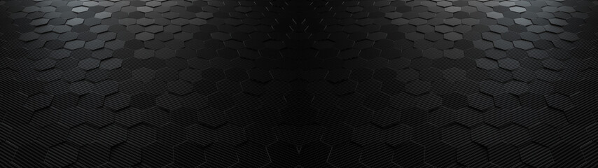 Fototapeta Black abstract hexagonal geometric ultra wide background. Structure of lots of hexagons of carbon fiber. 3d rendering