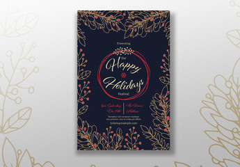 Holiday Event Flyer Layout with Leaf Illustration