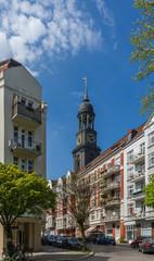 Hamburger Michel Turm mit Blick Wincklerstraße Ecke Martin-Luther-Straße