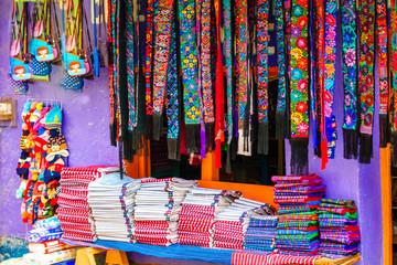 View on indigenous maya clothes on market in Chichicastenango - Guatemala