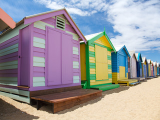 Colorful painted beach huts in Australia