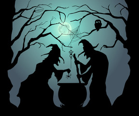 Happy Halloween. Witches brew a magic potion for Halloween.