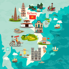 Fototapete - Vietnam abstract map, hand drawn vector illustration. Travel illustration of Vietnam with landmarks icons. Poster for children, art travel card, vietnamese architecture