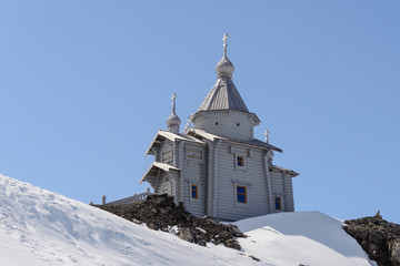 Wooden church in Antarctica on Bellingshausen Russian Antarctic research station