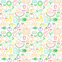 Food seamless pattern of modern outline icons
