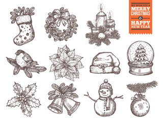 Christmas and happy New Year collection of sketch vector icons. Festive and holiday hand drawn elements: sock with gifts and fir wreath, bullwinch on branch, poinsettia star and holly, santa hat and s