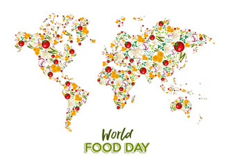 Food Day greeting card of vegetable world map