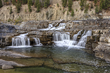 Low water cascades on the Kootenai river. Wall mural