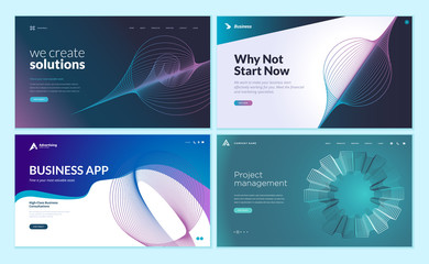 Wall Mural - Set of web page design templates with abstract background for business app, project management, creative solutions. Modern vector illustration concepts for website and mobile website development.