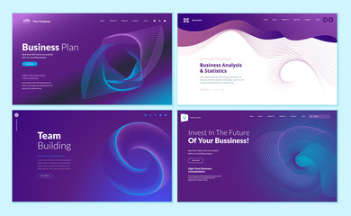 Wall Mural - Set of web page design templates with abstract background for business plan, analysis and statistics, team building, investment. Vector illustration concepts for website development.