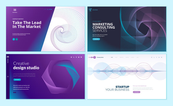 Set of web page design templates with abstract background for business, marketing, design agency. Modern vector illustration concepts for website and mobile website development.