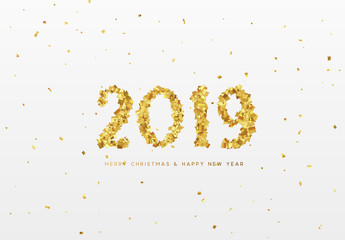 2019 New Year. Text from golden confetti, with bright sparkles.