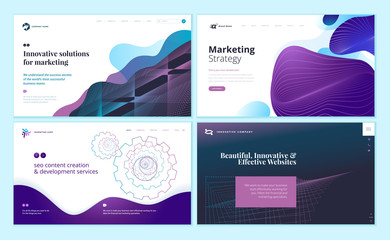 Wall Mural - Set of web page design templates with abstract background for marketing, seo, website design. Modern vector illustration concepts for website and mobile website development.