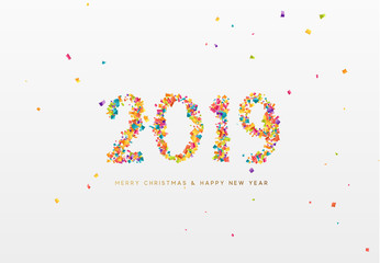 2019 New Year. Colorful text, numbers from confetti.