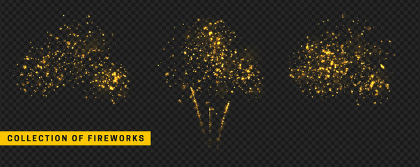 Golden light effect. Set festive fireworks isolated on transparent background.