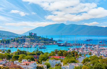 Saint Peter Castle (Bodrum castle) and marina in Bodrum, Turkey Wall mural