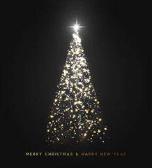Sparkle magic xmas tree light. Greeting card Merry Christmas and Happy New Year. Vector illustration