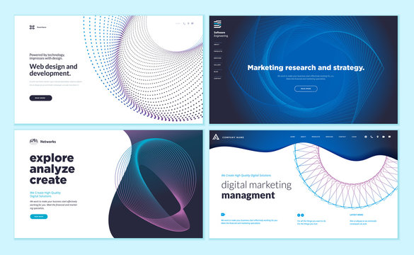 Set of web page design templates with abstract background for marketing research and strategy, web design and development, internet advertising. Vector illustration concepts for website development.
